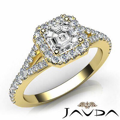 Asscher Cut Diamond Engagement GIA H VVS2 18k Yellow Gold Halo Pave Set Ring 1Ct