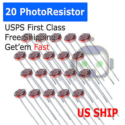 20pcs Photoresistor Ldr Cds 5mmlight-dependent Resistor Sensor Gl5516 Arduino At