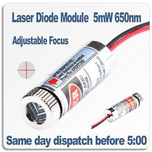 Adjustable Focus Laser Module 5 Volt. Red Focusable Cross Line laser 5mW 650nm