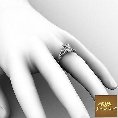 French U Pave Halo Split Shank Pear Cut Diamond Engagement Ring GIA H VS1 0.7Ct 4