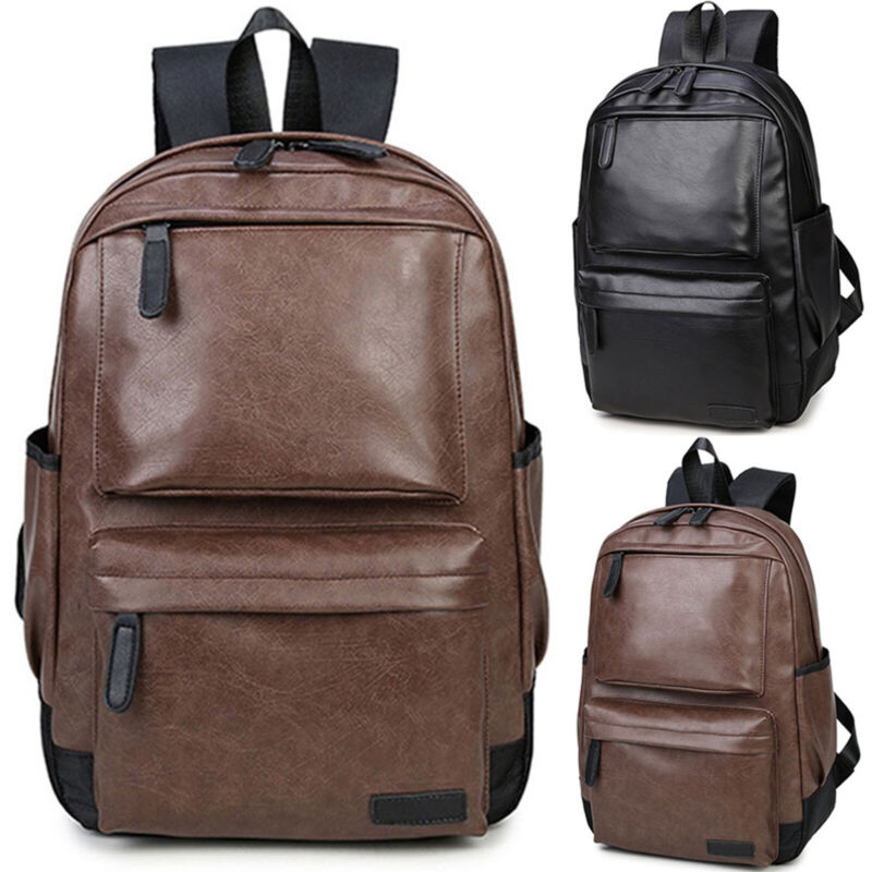 Unisex Men Leather Backpack Shoulder Travel Handbag