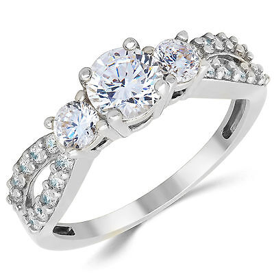 14K Solid White Gold CZ Cubic Zirconia Three Stone Engagement Ring Gold Cubic Zirconia Trio