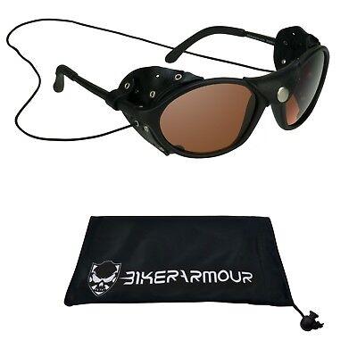 Ghiacciaio Occhiali da Sole Occhiali pelle Lato Scudi HD Blu Blocker Moto Sci