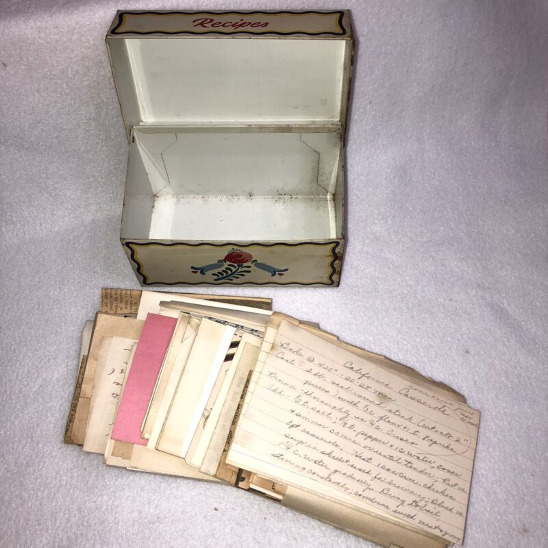 Vintage Ohio Art Tin Recipe Box with Handwritten Clipped Recipes Floral Hearts