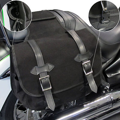 New Motorcycle Panniers Heavy Duty Canvas Textile Throw Over Saddlebags Black