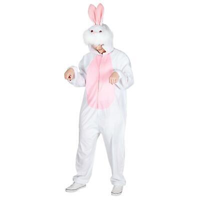 Adult Easter Bunny Costume White Rabbit Deluxe Jumpsuit Unisex Fancy Dress