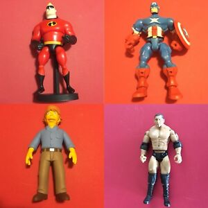 Misc Action Figure Lot Incredibles Simpsons WWE Mashers