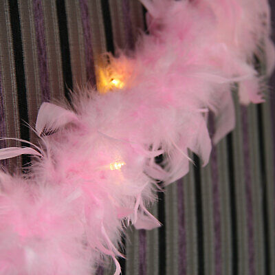 Pink Feather Garland Battery Warm White Lights with Timer - buy direct fr Qbis ()