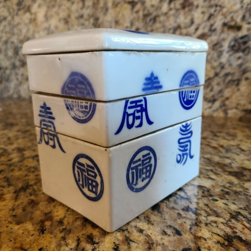 Japanese Ceramic Bento Box Three Tiers Stackable Blue on White Antique Rare