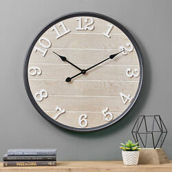 Glitzhome 23D Farmhouse Large Wooden Wall Mounted Clock Art Home Office Decor