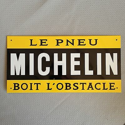 Michelin Man Tires Metal Sign Yellow Raised france vintage boit l obstacle