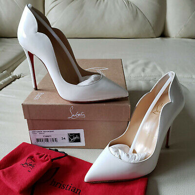 NIB Christian Louboutin Hot Chick 100 White Patent Pumps 34 So Kate Pigalle NEW