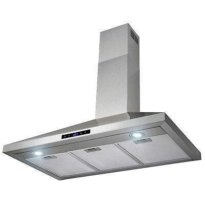 "36"" Stainless Steel Wall Mount Range Hood Touch Control w/Mesh Filters and Clock"