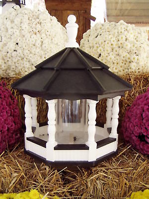 Vinyl Bird Feeder Amish Homemade Handmade Handcrafted White / Black Lg