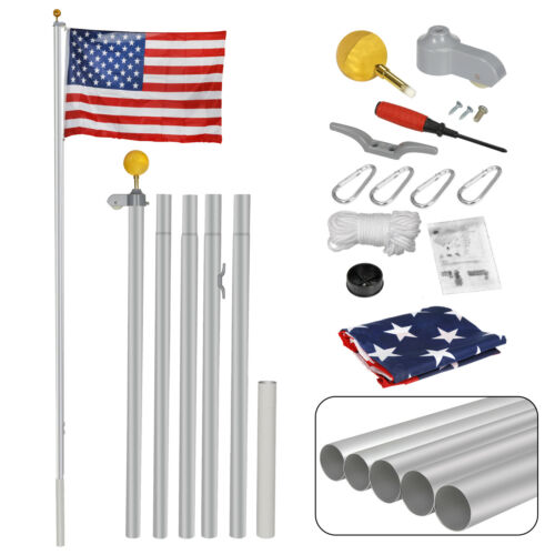 16FT Sectional Flag Pole W/ 3'x5′ US American Flag and Ball Top Kit Flagpole Décor
