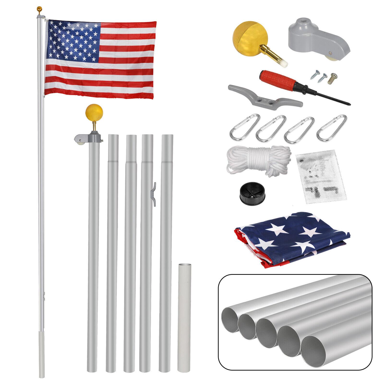 16FT Sectional Flag Pole Flagpole Halyard Pole 3'x5′ US Flag and Ball Top Kit Décor