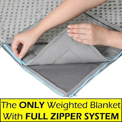 15lb Weighted Blanket & FREE MINKY Cover - For Adults & Kids, Full Zipper System - Full Blanket Cover