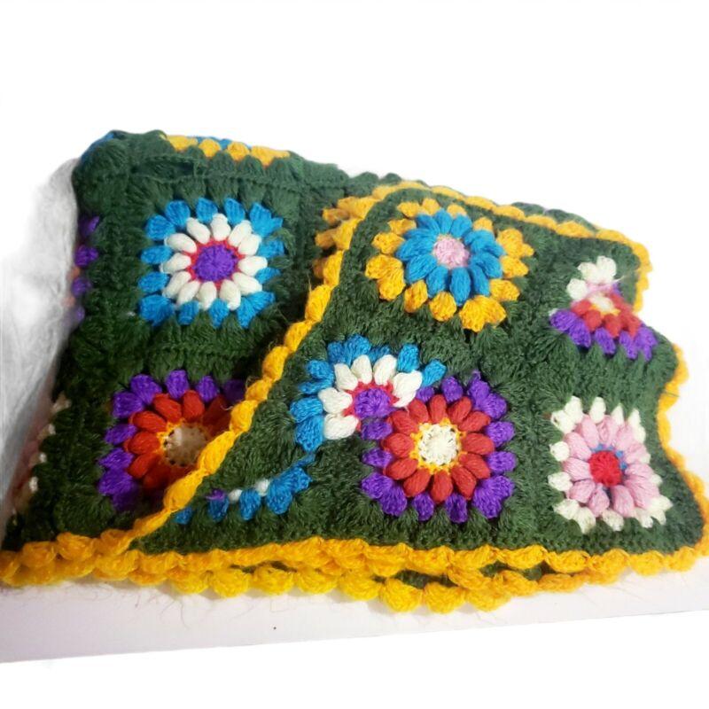 Vtg Handmade Afghan Crochet Blanket 45 X 70 Granny Squares Edge Colorful