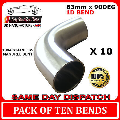 """90 degree 2.5"""" 63mm Tight 1D Mandrel Exhaust Bend T304 Stainless Steel QTY 10"""