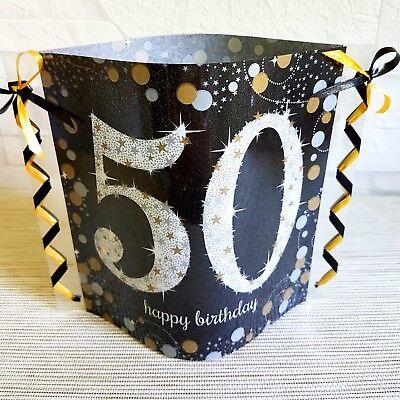 Tischdeko-Windlicht aus Servietten- Happy Birthday- 50.GEBURTSTAG-schwarz/gold