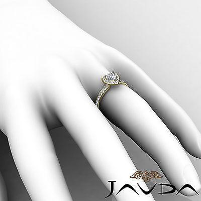 Halo Pave Set Heart Diamond Engagement Wedding Ring GIA H VS2 Yellow Gold 0.95Ct 6