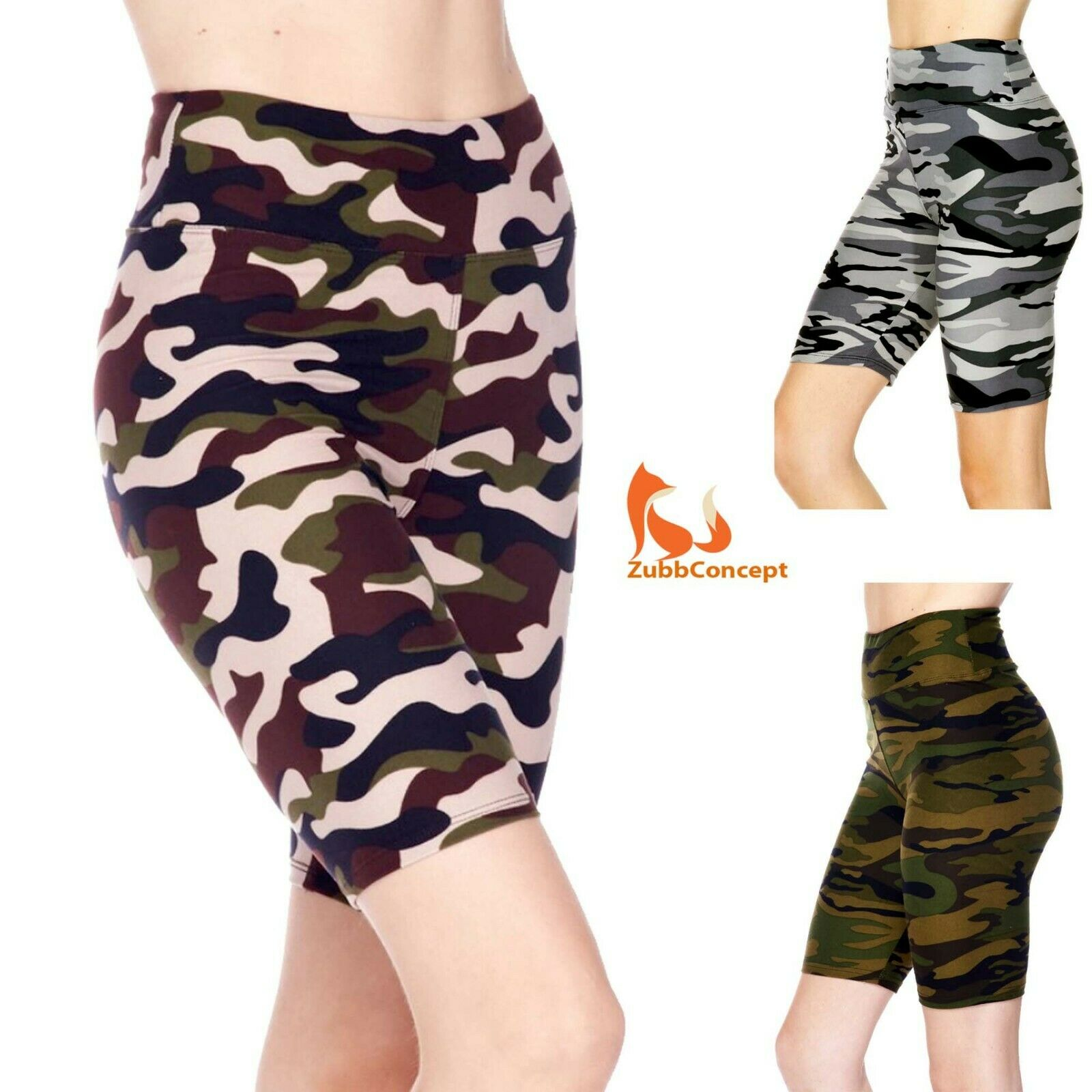 Women's Camouflage Printed 3 inch Wide Waistband Biker Leggi