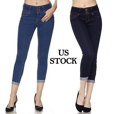 Wax Jeans Women Butt Lifter Skinny Capri Cropped Jeans Stret