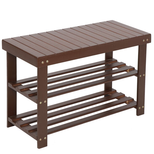 Natural Bamboo Shoe Bench 3-Tier Shoe Rack Organizer Entryway Storage Shelf Home & Garden