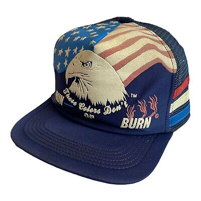 Vintage 80s These Colors Dont Run Burn Eagle American Flag Snapback Trucker Hat