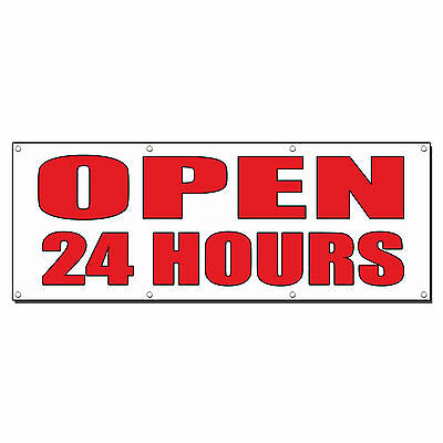 OPEN 24 HOURS Auto Body Shop Car Repair Banner Sign 8 ft x 4 ft /w 8 Grommets