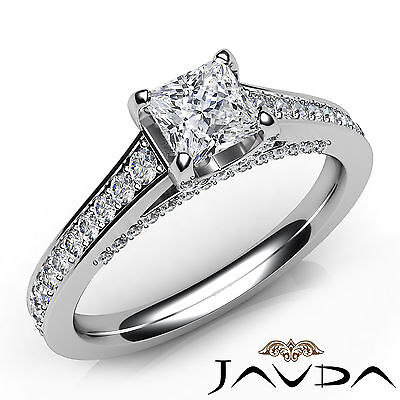 Cathedral Style Princess Cut Diamond Engagement Pave Ring GIA F Color SI1 1.25Ct