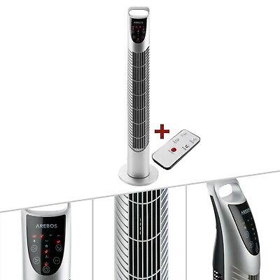 AREBOS Ventilador de torre de 40 W Ventilador de pedestal con mando...