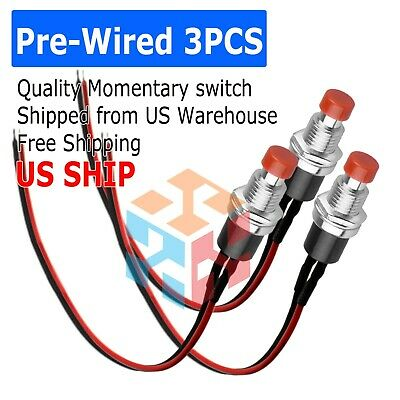 3 Pack Mini Push Button Pre-wired Momentary No Off-on Switch Plug 12v 5amp Spst