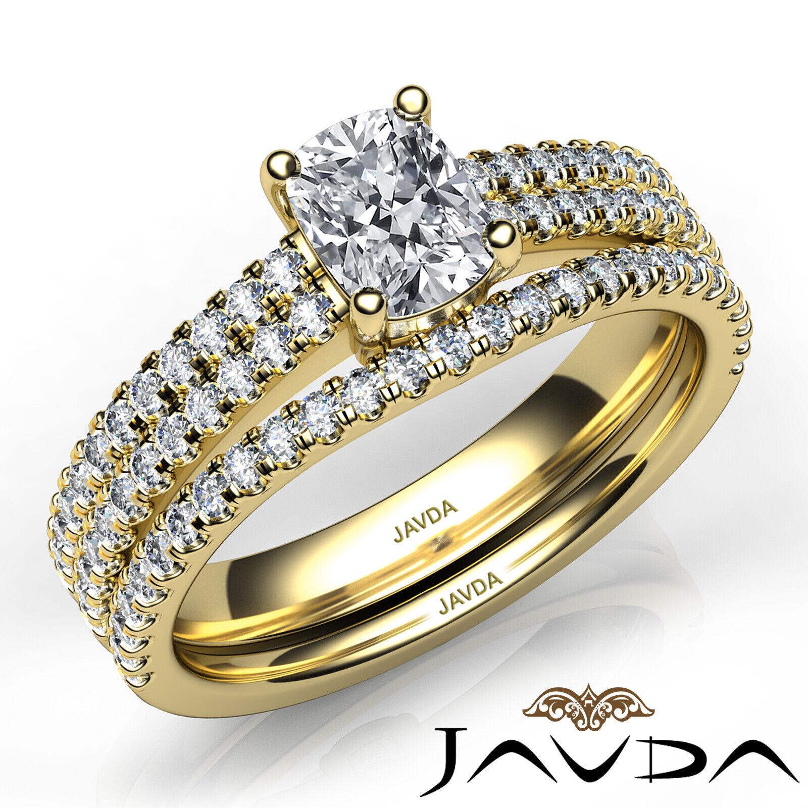 1.8ctw Bridal Scalloped Pave Cushion Diamond Engagement Ring GIA F-VVS2 W Gold 9