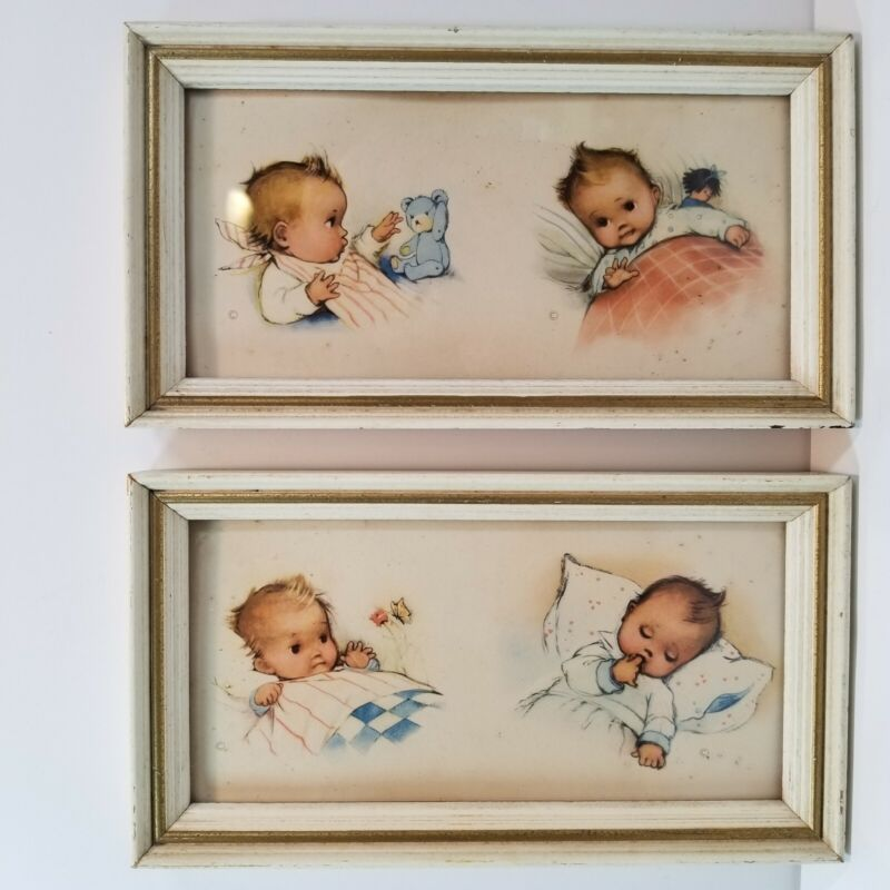Nursery Baby Framed Prints Vintage Cute Teddy Bear Doll -N