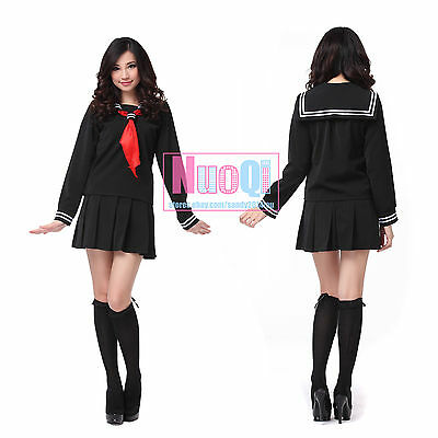 Sailor School Uniform (Women Girl Japanese Long Sleeve High School Uniform Black Sailor Cosplay Costume)