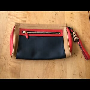 Authentic Coach Legacy Colorblock Leather Large Clutch