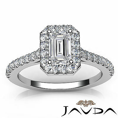 Halo Emerald Cut Diamond Engagement French U Pave Wedding Ring GIA F VS2 1.21Ct 3
