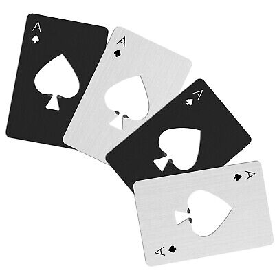 4Pcs Poker Playing Card Ace of Spades Stainless Steel Metal Beer Bottle Opener