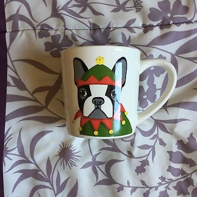 Magenta French Bulldog Frenchie in Christmas Elf Costume Coffee Cup/Mug Red (Bulldogs In Costumes)