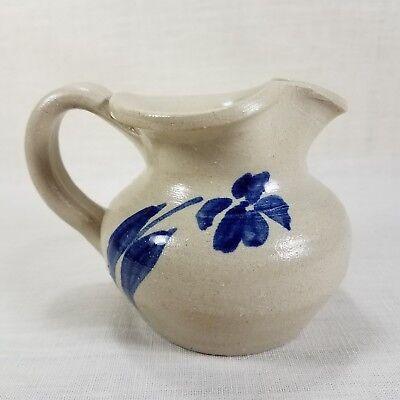 "Williamsburg Pottery Salt Glaze Creamer 3"" x 4"" Hand Painted Cobalt Blue Flower"