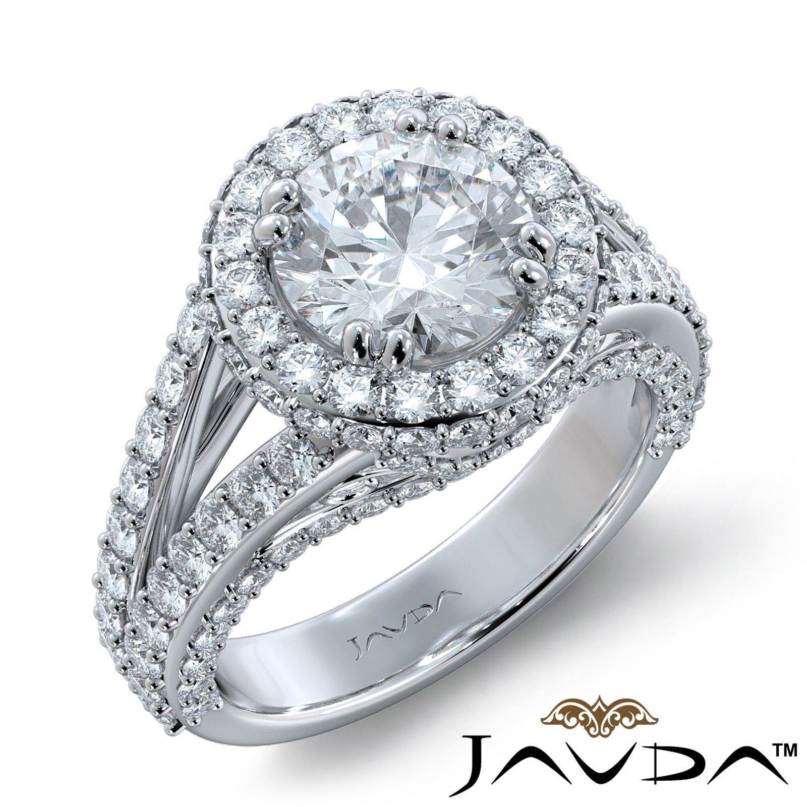 4.2ctw Pave Set Halo Vintage Round Diamond Engagement Ring GIA H-VS1 White Gold