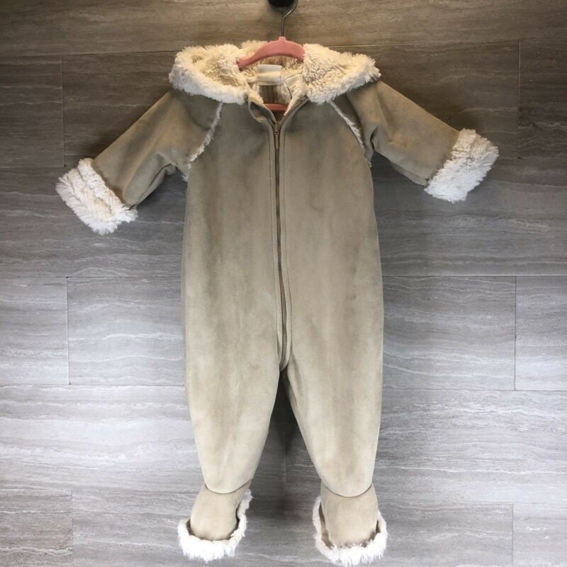 Nordstrom Baby 6 Months Bunting Suit Warm Faux Fur Suede Beige Cream B3
