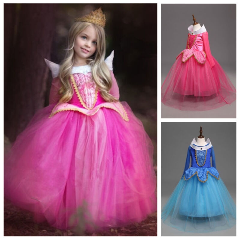 Kids Girls Sleeping Beauty Princess Aurora Fancy Party Dress