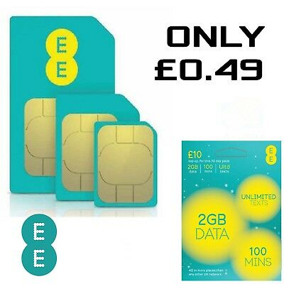 EE 4G £10 Data Pack Pay As You Go SIM PAYG Nano/Micro/Standard Triple Cut New UK