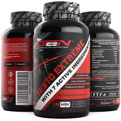 Testo Extreme - 180 Kapseln - Hochdosiert - Testosterone Booster - Potenz  Muskelaufbau