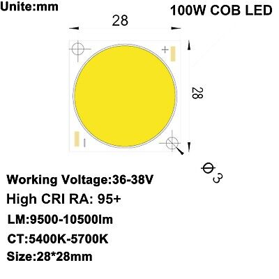 High Cri 95 100w Cob Led Daylight White Dc36-38v 2.5a 10000lm For Diy Projector