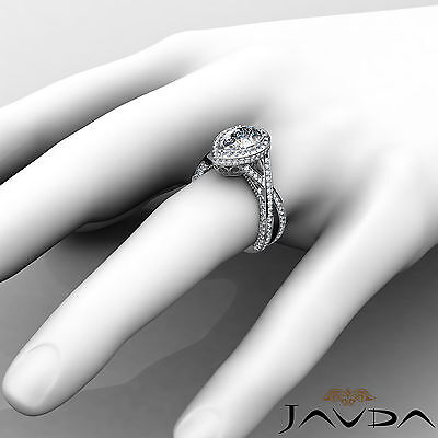 Cross Shank Milgrain Edge Halo Pear Cut Diamond Engagement Ring GIA G VS2 2.45Ct 3