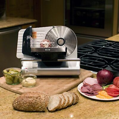 Food Slicer Cutter Deli Meat Cheese Steel Kitchen 7.5 Blade Adjustable Thickness