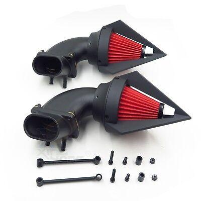 Black Dual Spike Air Cleaner Red Filter Kit Intake For Suzuki Boulevard M109R